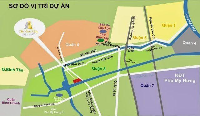 So do vi tri du an the sun city ba to - KDC Thanh Nhựt Quận 8